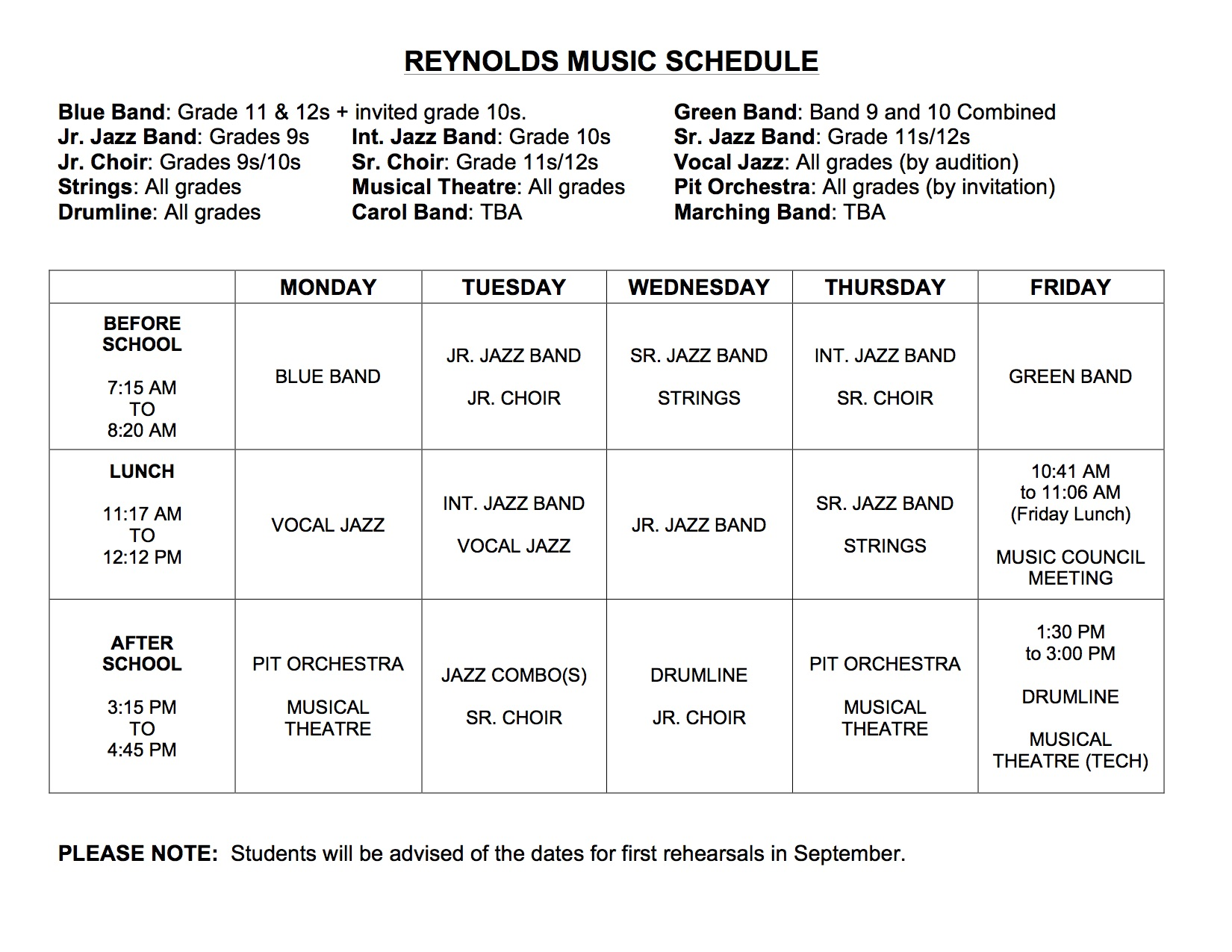 Band This Week: Welcome back! – Reynolds Music Program